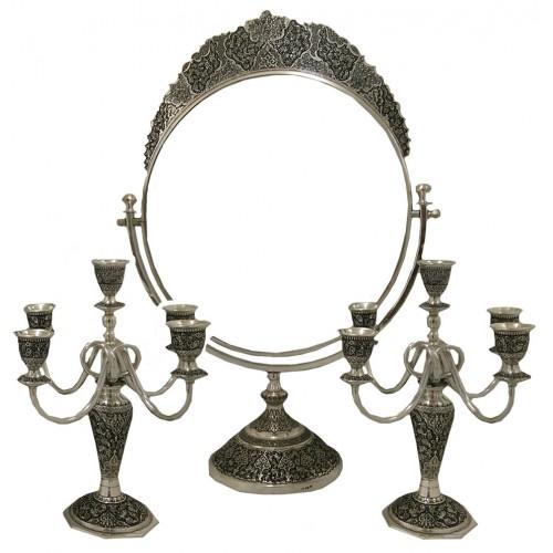 آینه و شمعدان نقره دایره ای 7041