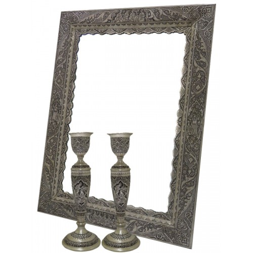 آینه و شمعدان قلم کاری نقره 7074