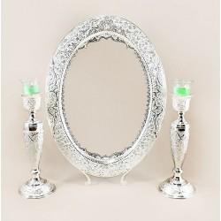 آینه و شمعدان نقره گل و مرغ
