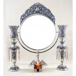 آینه و شمعدان نقره بادبزنی