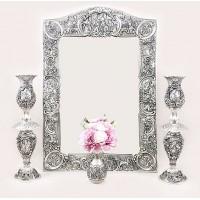 آینه شمعدان نقره طرح صورت