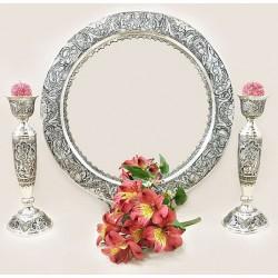 آینه شمعدان نقره بنفشه دایره
