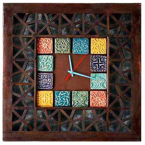 ساعت دیواری چوبی گره چینی 3800