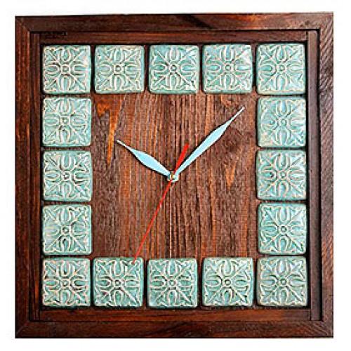 ساعت دیواری چوبی خشتی 3804