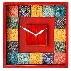 ساعت دیواری چوبی رنگی 3809
