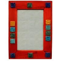 آینه دیواری چوبی نارنجی 3811