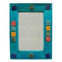 آینه دیواری چوبی آبی 3812