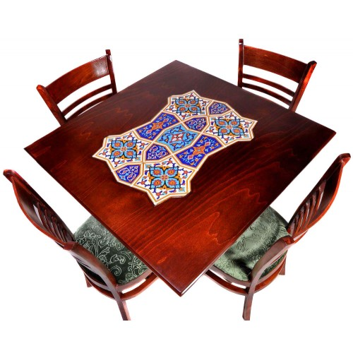 میز ناهار خوری 4 نفره چوبی مربع