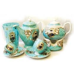 سرویس چای خوری فیروزه ای سلطنتی