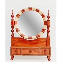 آینه رومیزی گرد چوبی