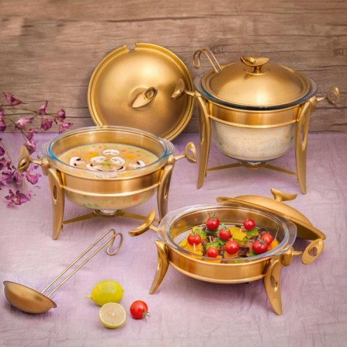 سرویس سوپ خوری استیل طلایی