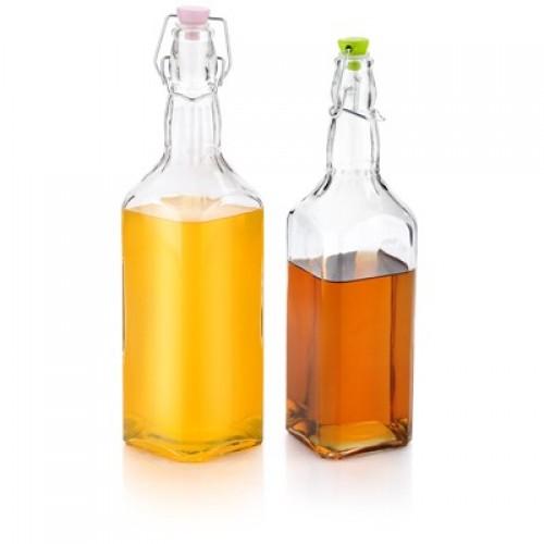 بطری شیشه ای آب 4 گوش