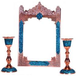 آینه شمعدان تاج دار فیروزه کوب