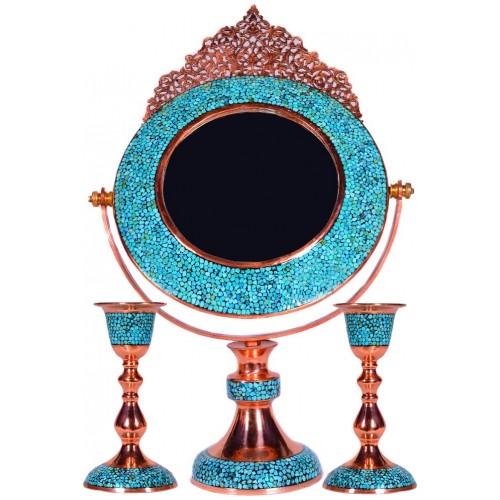 آینه فیروزه کوب دایره ای