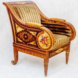 صندلي دست ساز چوبي چرمي