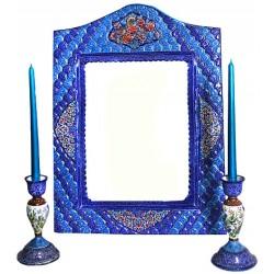 آینه و شمعدان مینا کاری تاج دار