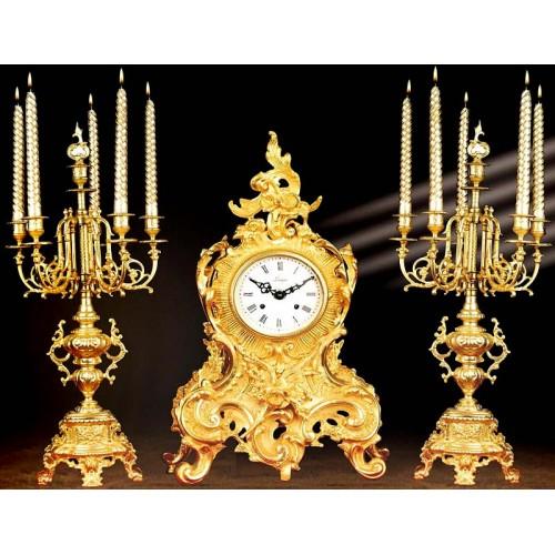 ساعت و شمعدان لوئی طلایی