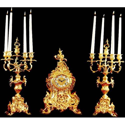 ساعت و شمعدان صدفی طلایی