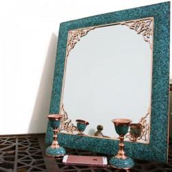 آینه شمعدان فیروزه کوب مستطیلی