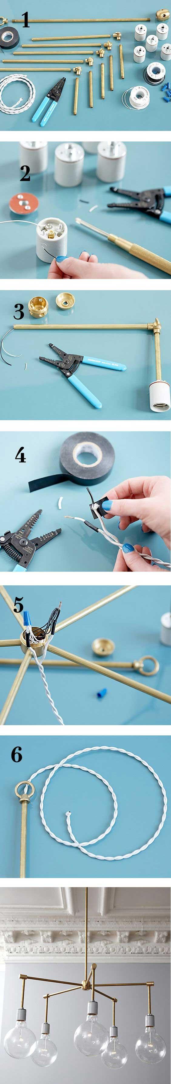 ایده ساخت لوستر با لوله های فلزی باریک