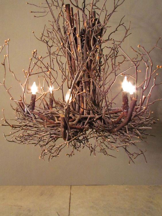 ایده ساخت لوستر با شاخه های درخت