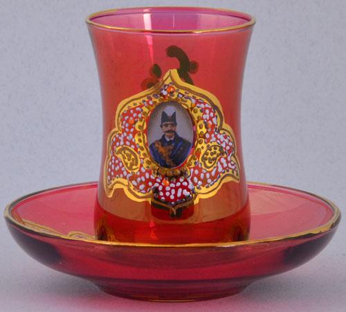 استکان نعلبکی شاه عباسی قرمز درجه یک