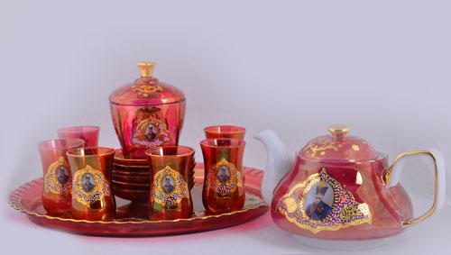 سرویس چایخوری شاه عباسی قرمز درجه یک