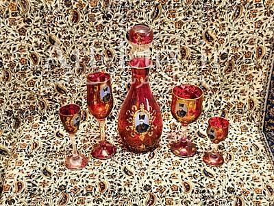 سرویس جام و گیلاس شاه عباسی قرمز