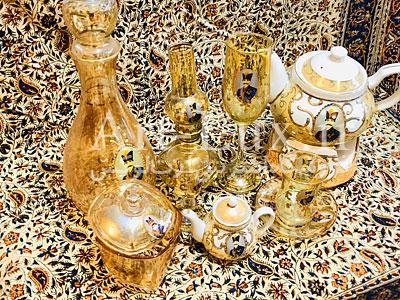 خرید ظروف شاه عباسي طلایی