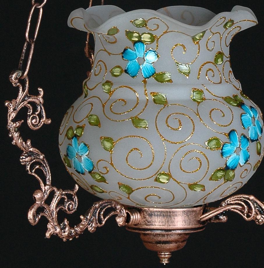 حباب لوستر فیروزه ای لاله