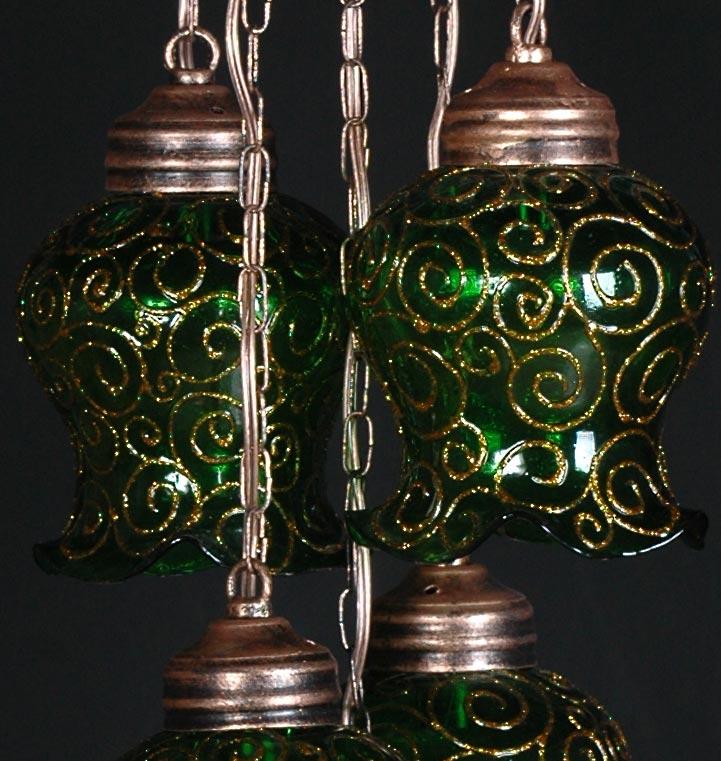 حباب لوستر لاله ای سبز