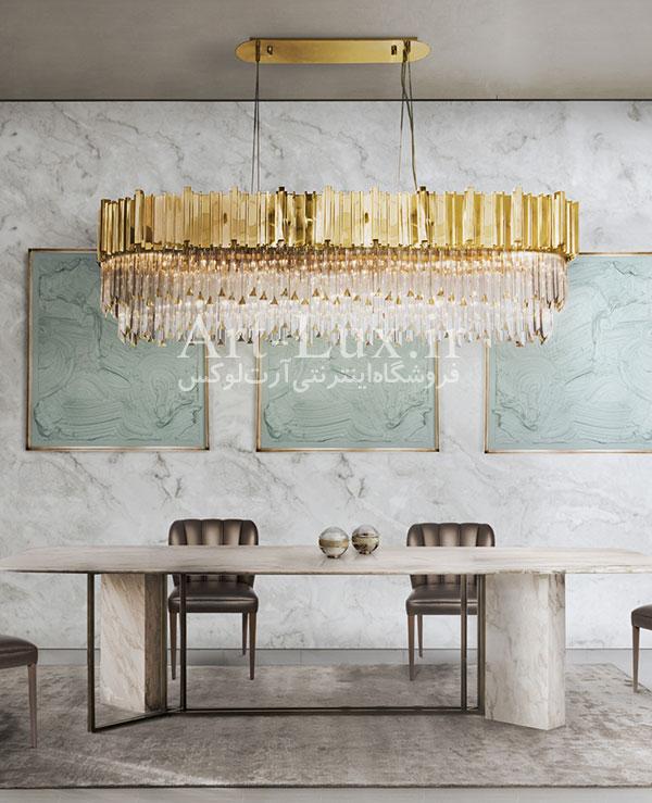 لوسترهای بالای میز ناهار خوری