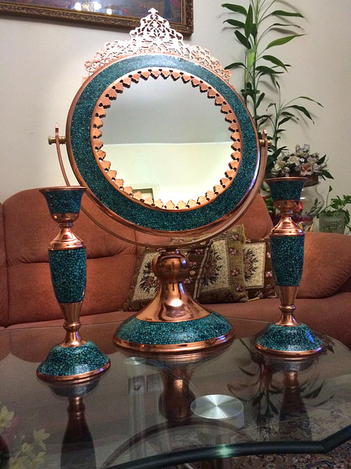 Mirrors and candlesticks turquoise