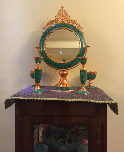 آینه و شمعدان فیروزه کوب اصل برای کنسول