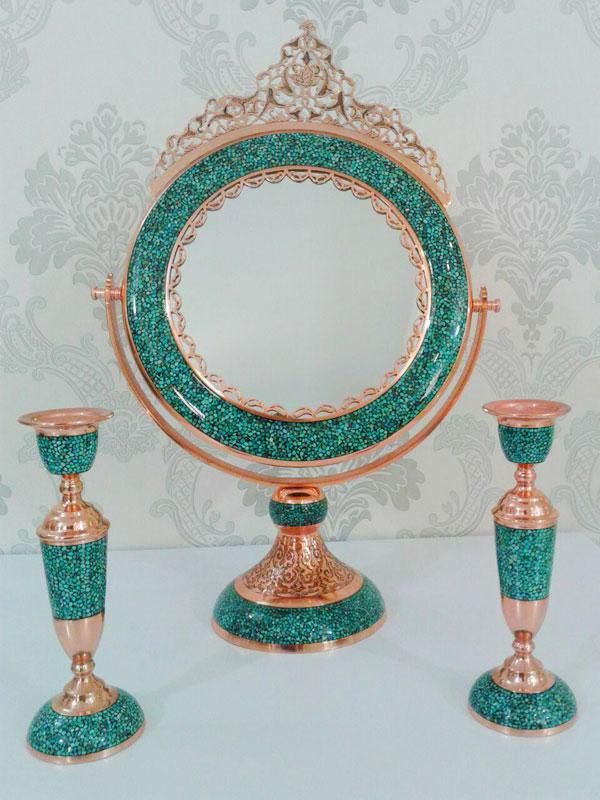 فروش آینه شمعدان فیروزه کوب