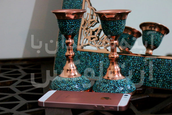 خرید آینه مسی فیروزه کوب در تهران