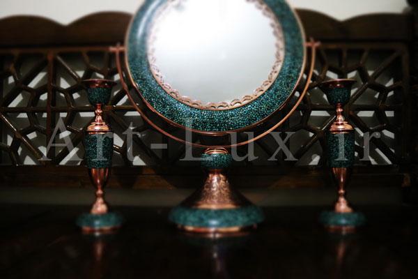 خرید آینه و شمعدان فیروزه کوب