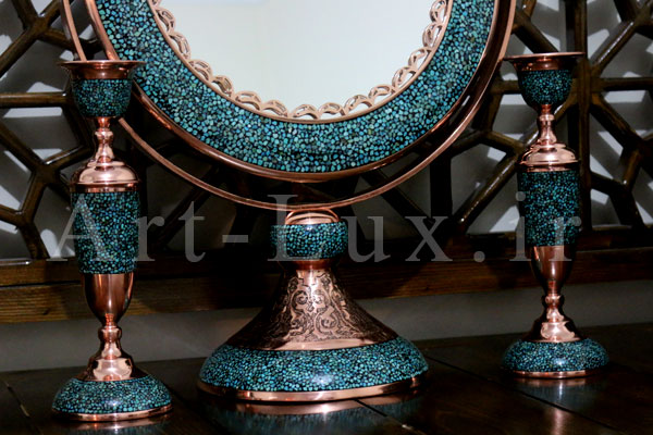 قیمت آینه و شمعدان فیروزه